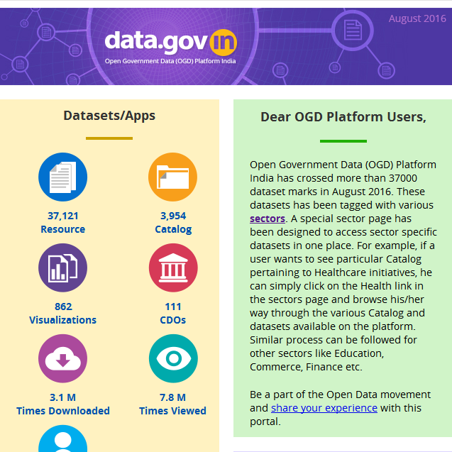Newsletter - Sector specific datasets in Open Government Data (OGD) Platform India