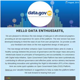 Open Government Data Platform India (data.gov.in) : Newsletter - August 2015