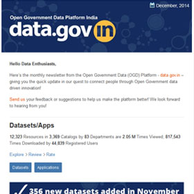 Open Government Data Platform India : Newsletter, Dec 2014