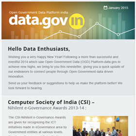 Open Government Data Platform India (data.gov.in): Newsletter, Jan 2015