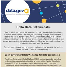 Open Government Data Platform India (data.gov.in): Newsletter for May 2015