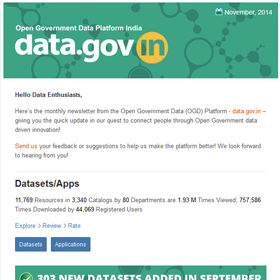 Open Government Data Platform India : Newsletter, Nov 2014