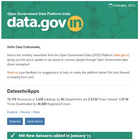 Open Government Data Platform India (data.gov.in): Newsletter, Feb 2015