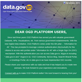 Banner of Open Government Data (OGD) Platform India adopts Single Sign On (SSO)