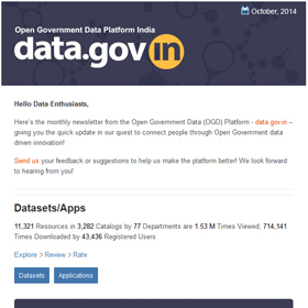 Open Government Data Platform India (data.gov.in): Newsletter, Oct 2014