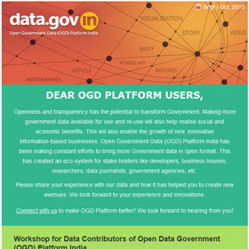 Open Government Data Platform India (data.gov.in) : Newsletter,  Sept-Oct 2015