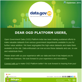 Open Government Data Platform India (data.gov.in): Newsletter, September 2015