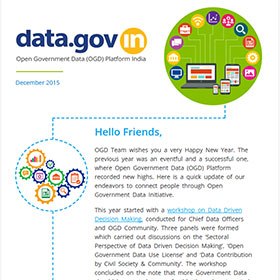 Banner of Open Government Data Platform India (data.gov.in): Newsletter, December 2015