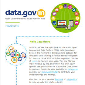 Newsletter - Open Government Data driven innovations through startup India programme