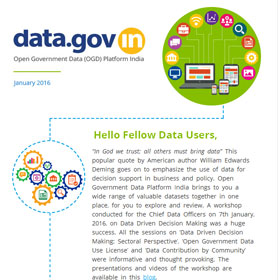 Banner of Open Government Data Platform India (data.gov.in): Newsletter, January 2016