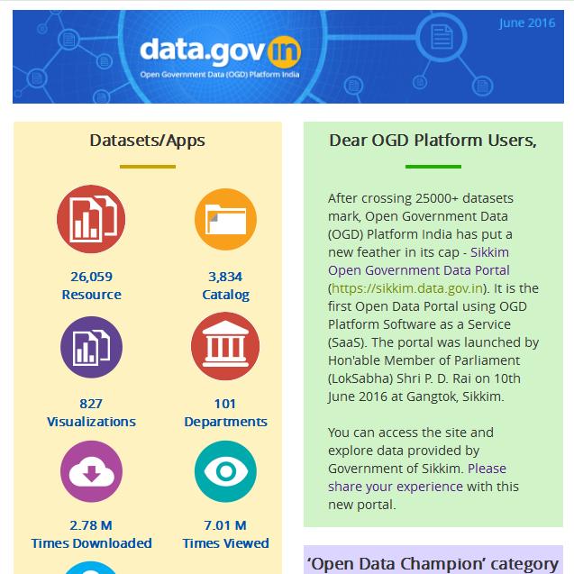 Newsletter - Launch of Sikkim Open Data Portal as OGD Platform Software as a Service (SaaS) Instance
