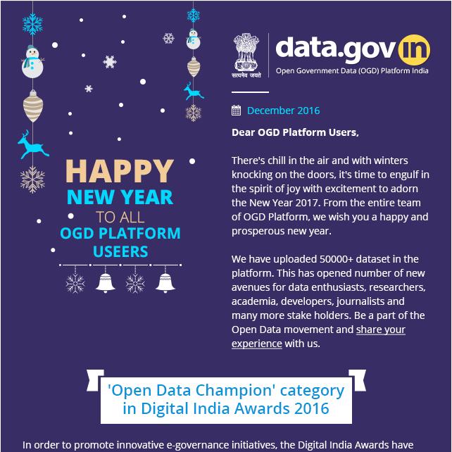 Newsletter - Open Government Data Platform India Crossed 50000+ dataset mark