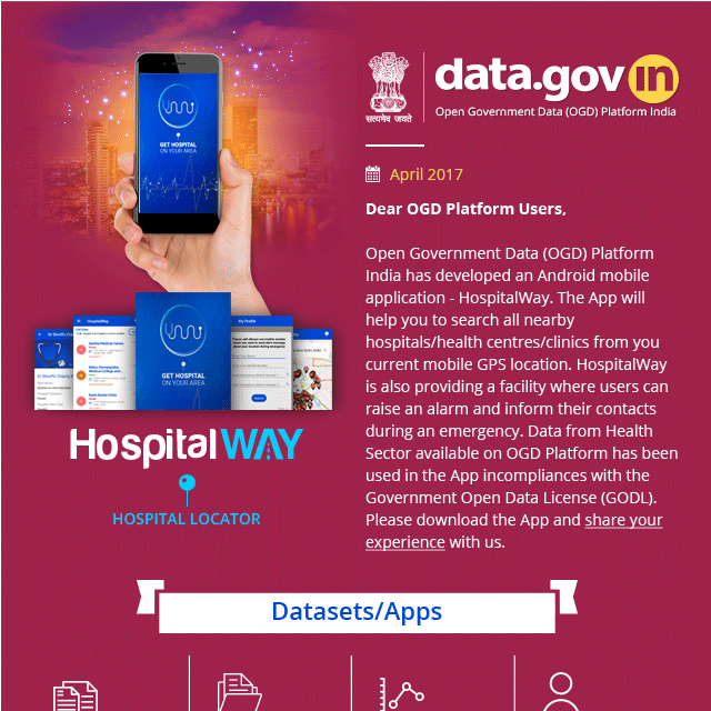 Newsletter - Hospital locator App from OGD Platform exploring potential of Open Data