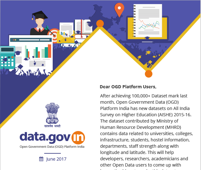 Newsletter - All India Survey on Higher Education Unit Level Data available on OGD