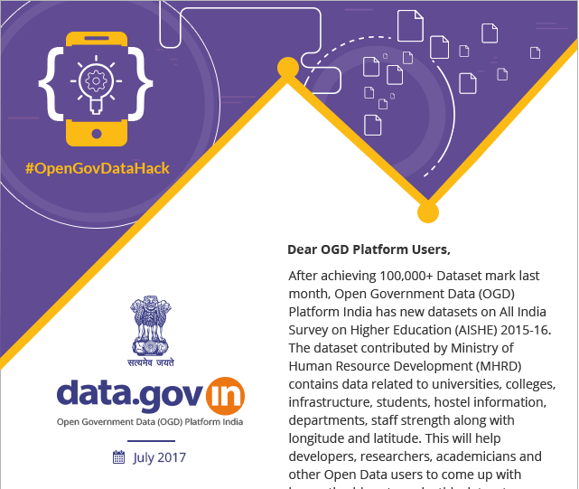 Newsletter - Get ready for participation in October 2017 for an upcoming Event: #OGDHackathon – Innovate and Win